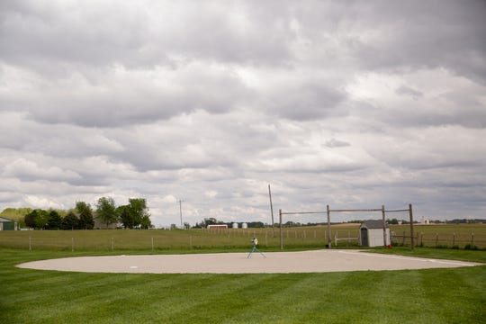 The Martin's backyard baseball field, Friday, May 22, 2020 in Linden.