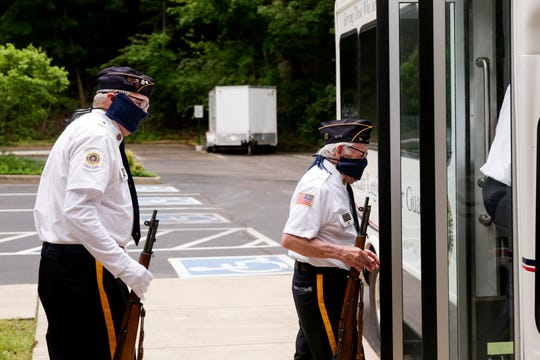 Members of the American Legion Lafayette Post 11 honor guard load into their bus before a funeral, Friday, May 22, 2020 in Lafayette.