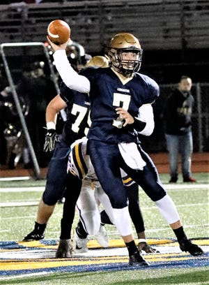 Lancaster quarterback Tyler Monk prepares to throw a pass during the last game of the regular season against Reynoldsburg. He led the Golden Gales to six consecutive wins and Ohio Capital Conference-Ohio Division championship after an 0-3 start, but the Gales fell just short of qualifying for the playoffs.