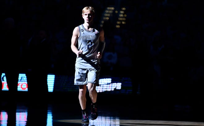 Georgetown guard Mac McClung (2) on the court before a game against Marquette at Capital One Arena on Jan. 18, 2020, in Washington, DC.