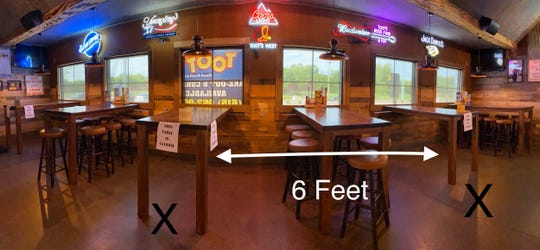 This photo shows the social distancing set up at a Toot's restaurant on Franklin Road in Murfreesboro to adhere to the Tennessee Pledge.