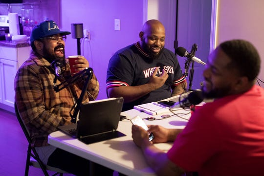 """From left, Leon Johnson, Darius Beck, and Dra' Tyson, discuss dating during COVID-19, on their podcast called, """"That's Why We're Single."""" Thursday, May 21."""