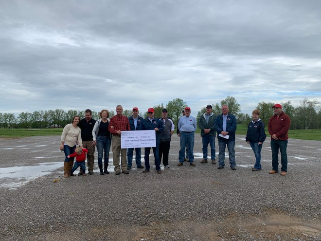 Hartford Fair Board members received a $100,000 from the Pataskala-based Carr family during a ceremony on the fairgrounds on Thursday, May 21, 2020. The money will be used to fund B Carr Pavilion, which will be used for livestock shows and sales during fair week. The building is expected to be finished in June.