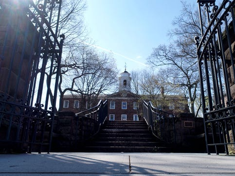 Olde Queens is shown on the Rutgers College's College Avenue Monday, April 6, 2020.