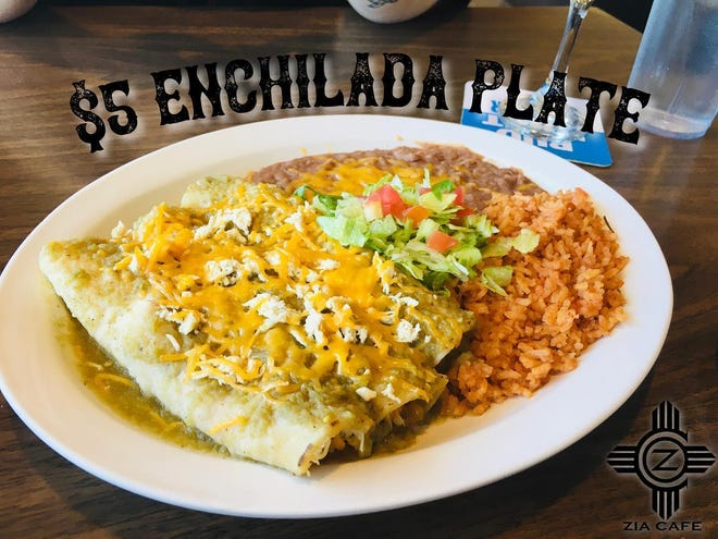 Enchilada plate for only $5 at Zia Cafe, 1155 S. Valley Dr.