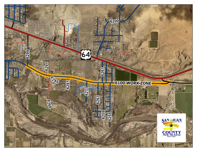 A map of the County Road 6100 work zone is pictured. County officials are warning motorists who use the road to expect significant disruptions beginning May 27.
