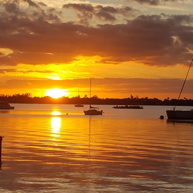 Sunset on Chub Cay in the Bahamas.