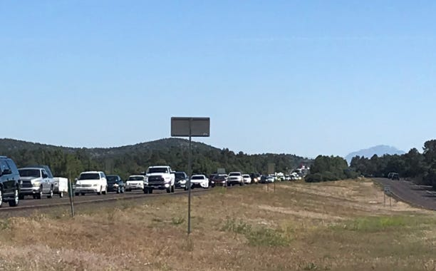 Traffic backs up between Payson and Rye on State Route 87 on May 22, 2020, for the start of the holiday weekend.