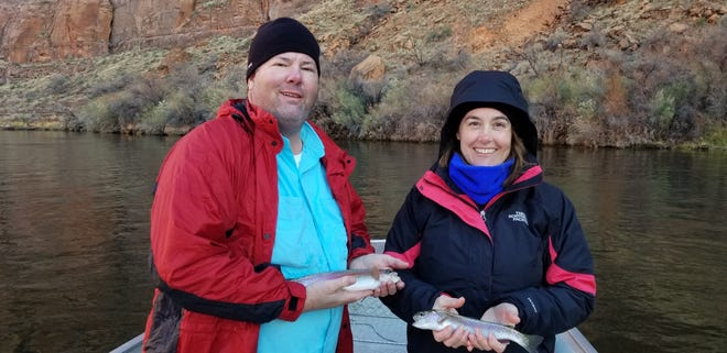 ICU nurse Lori Patterson and her husband, Jeff, caught rainbow trout on the Colorado River in Arizona.