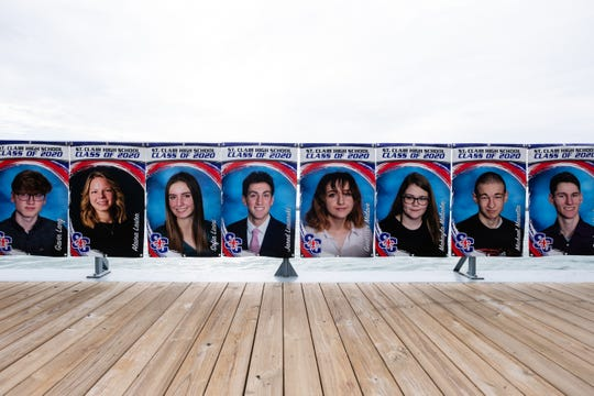 A banner was hung along the boardwalk in St. Clair in honor of the St. Clair High School seniors who had their graduation canceled due to the coronavirus.