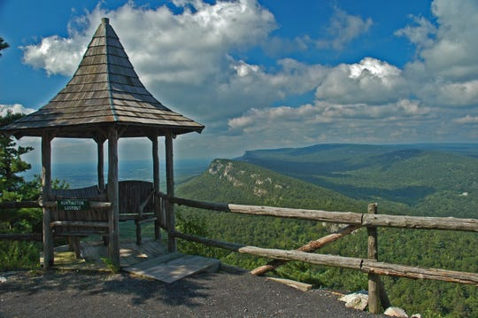 A view of the Shawangunk Mountains from on of Mohonk Mountain House's hiking trails.
