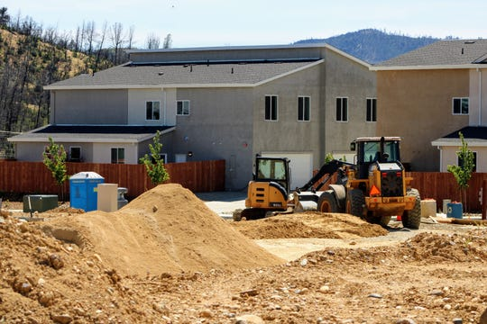 Construction equipment sits in the Salt Creek Heights subdivision in Redding on Friday, May 22, 2020.