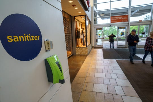 Shoppers returned to Mt. Shasta Mall on Monday morning, May 18, 2020. It was the mall's first day reopening, about two months since it closed due to the COVID-19 pandemic. Here a sanitizing station is seen on the wall.