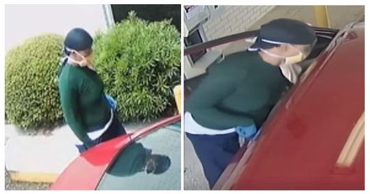 Pictured are images from a security camera showing the suspect of a carjacking that reportedly occurred on Thursday, May 21, in the parking lot of a business located in the 8400 block of Mansfield Road.