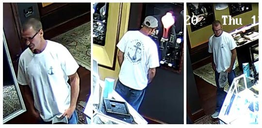 Shreveport police are searching for a man who is suspected of stealing two rings from Once Upon a Diamond on May 21.