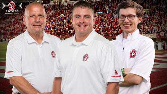 The 2020-21 Coyote Sports Network Team (L-R): Gary Culver (football analyst), John Thayer (football PBP and men's basketball PBP) and Carter Woodiel (women's basketball PBP, football sideline reporter).