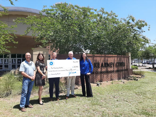 The Kearney Center, from left, Claude Walker (The Kearney Center), Diana O'Bryant (Hancock Whitney), Tom Deison (Hancock Whitney), Paul Sullivan (Hancock Whitney) and Liza McFadden (The Kearney Center) with donation check.