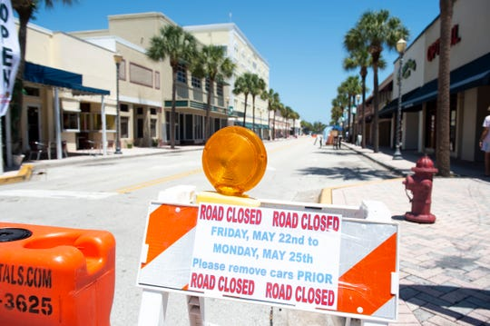 More outdoor seating and space to display products is available at Second Street restaurants and shops starting this weekend, Friday, May 22, 2020, in downtown Fort Pierce. Second Street is blocked off to vehicles between Orange Avenue and Marina Way through Sunday night to create an outdoor pedestrian shopping and restaurant area for businesses, where indoor capacity is limited because of the coronavirus pandemic.