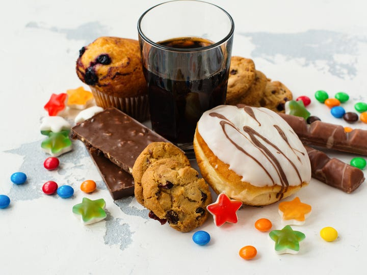 Cookies, soda, and candy are all high in sugar.