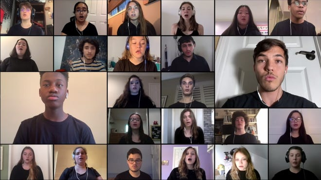 "A screenshot of a virtual performance shows some of the 200 singers performing ""You Are My Refuge."""