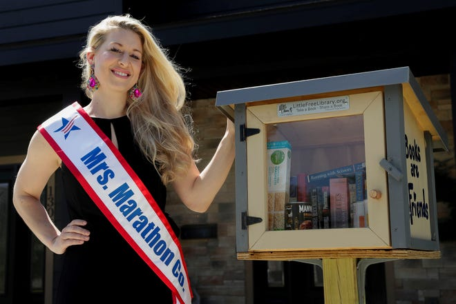 Mrs. Marathon County, Breanne Flatter, of Wausau, is a contestant in the Mrs. Wisconsin America pageant. As part of her social platform for improving education and literacy, she stocks a free curbside library outside of her home. When a safer-at-home order was issued by the governor's office, she also began stocking food in the library for those in need.