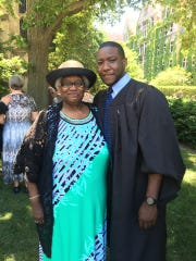 Marshall Hatch Jr. (right) poses with his aunt, Rhoda Hatch, at his graduation in Chicago, Ill. in June, 2017. Hatch received a Masters in Divinity and Masters in Social Work from the University of Chicago.