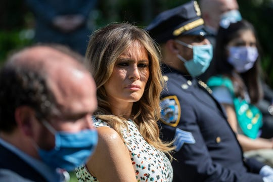 First lady Melania Trump during a presidential recognition ceremony in the Rose Garden of the White House, May 15, 2020.
