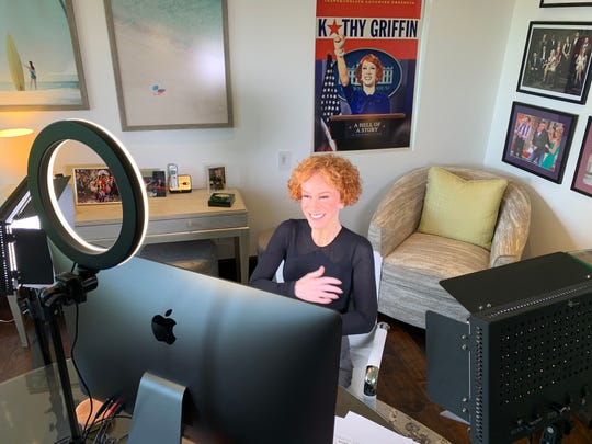 In a photo taken by her husband, Randy Bick, Kathy Griffin speaks with USA TODAY over video chat.