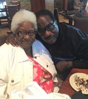 Rhoda Hatch (left) and her brother Marshall (right) celebrate Rhoda's 73rd birthday in Chicago, Ill. on July 26, 2019.
