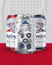 Sales of Budweiser have been up about 3%, by dollar value, so far this year. Now there are new limited edition red, white and blue patriotic cans available this summer. The camouflage design with stars, stripes pay tribute to the five military branches.