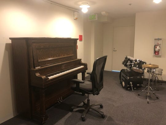 A piano located on the the fourth floor of the William E. Simon Athlete Residence Hall at the U.S. Olympic & Paralympic Training Center in Colorado Springs, Colorado. Paralympic triathlete Hailey Danz has been teaching herself to play the instrument.