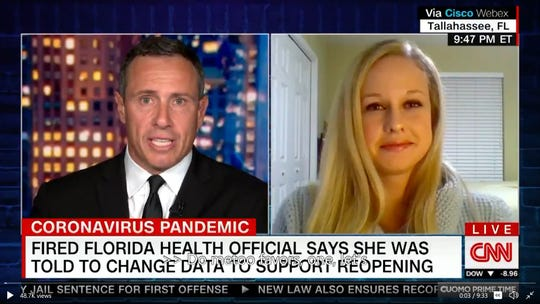 Fired Florida Department of Health data scientist Rebekah Jones appears in an interview on CNN.