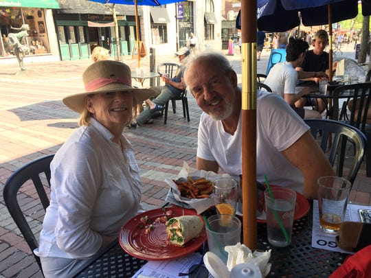 Quechee residents Richard and Ann Liscinsky ate lunch at Church Street Tavern in Burlington on Saturday, May 23, 2020. Three days early, Gov. Phil Scott announced that restaurants in Vermont could provide outdoor dining.