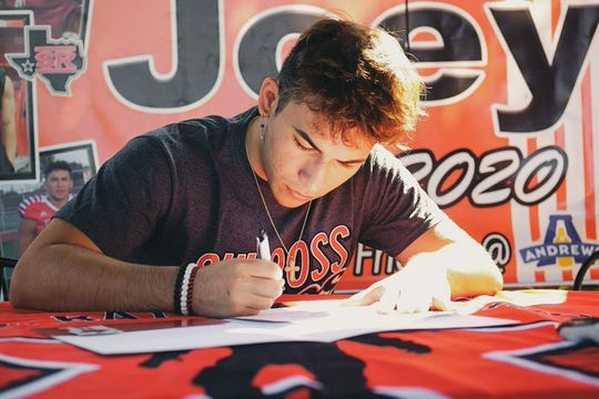 Ray running back/wide receiver Joey Calero signed to play football at Sul Ross State University in Alpine.