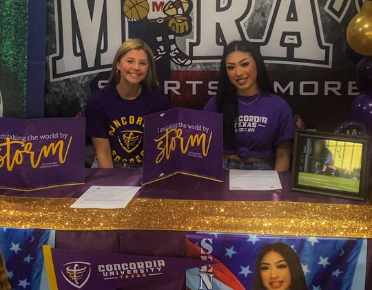 Veterans Memorial's Madison Roberts and Audrey Medina committed to play women's college soccer at Concordia University in Austin.
