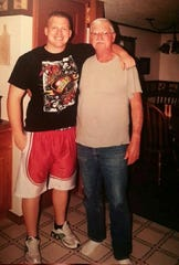 William S. Blevins (left) pictured with his grandfather, Will Wagoner.