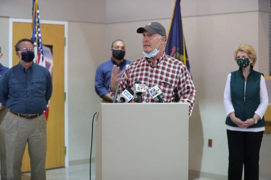 Congressman John Mollenaar takes questions regarding flooding in Midland and Sanford on May 23, 2020.