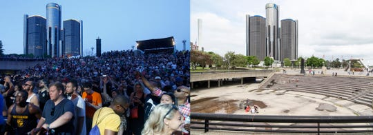 Left: The main stage at Hart Plaza is packed during the Movement festival on May 27, 2017. Right: Hart Plaza on what would have the opening day of Movement on May 23, 2020.