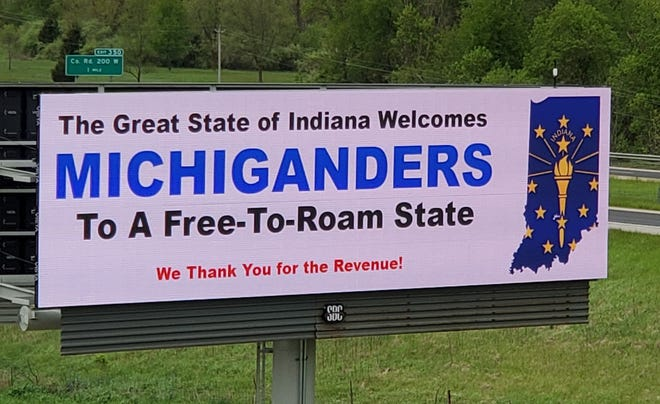 The billboard on I-69 Southbound just over the Michigan border south of the I-80/90 tollroad has been up for just a day, but has received plenty of attention on social media.