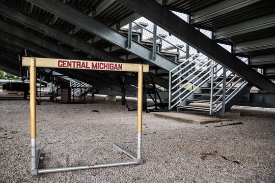 One of the hurdles used by Central Michigan's track and field program sits underneath bleachers at Alumni Field at on CMU's campus. CMU disbanded its indoor and outdoor men's track and field programs on May 19.