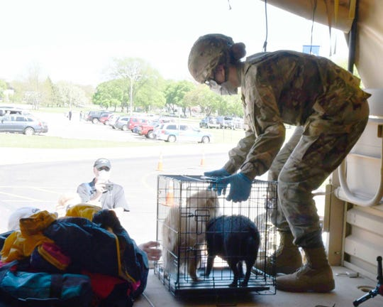 Pfc. Lydia Humphrey helps rescue two dogs from flooding in Midland.
