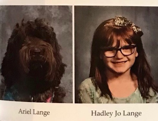Hadley Jo Lange, a 7-year-old Louisville girl who has epilepsy and suffers seizures as a result of the disorder, was pictured alongside her service dog, Ariel, in the St. Patrick Catholic School yearbook for the 2019-2020 school year.
