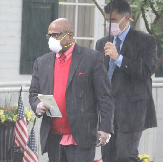 Music producer LA Reid exits the Vander Platt - Caggiano Funeral Home in Fair Lawn after he and others said good bye to music executive Andre Harrell. After a service at the funeral home Harrell was interred at George Washington Cemetery in Paramus.