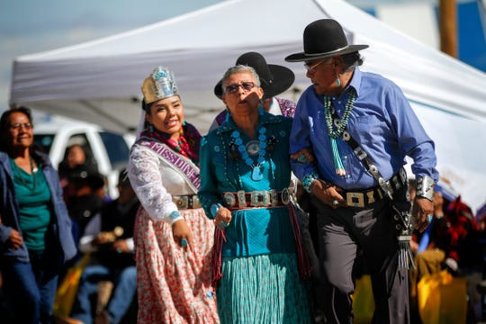 Participants take part in the Elderfest Song and Dance activity on Oct. 4, 2018 during the Northern Navajo Nation Fair in Shiprock.