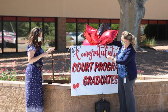 "Tabitha Wilkie (left) and Shelene Turnbull (right) decorate a sign prior to the Adult Drug Court Program -thru graduation ceremony in the Aztec District Court parking lot on May 21. ""width ="" 540 ""data-mycapture-src ="" https://www.gannett-cdn.com/presto/2020/05/23/PNM7/ 9ddcb4b8-855f-4dc3-b0fc-c3bfd49d55b3-FMN_Court_0524_03.JPG ""data -mycapture-sm-src = ""https: // www.gannett-cdn.com/presto/2020/05/23/PNM7/9ddcb4b8-855f-4dc3-b0fc-c3bfd49d55b3-FMN_Court_0524_03.JPG""/>[194590</span> </span> </span>] Tabitha Wilkie (left) and Shelene Turnbull (right), eleventh district officer, adorn a sign before the closing ceremony of the Adult Drug Court Program in the Aztec District Court parking lot on May 21st. <span class="