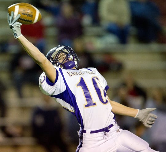 Cooper Hinderliter breaks up a pass in Sterling City's 68-22 win over Motley County in their state semifinal game in 2010.