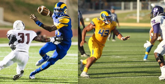 Quarterback Kyle Washington (left) and Markus Jones have been named co-MVPs of the Angelo State All-Decade Football Team.