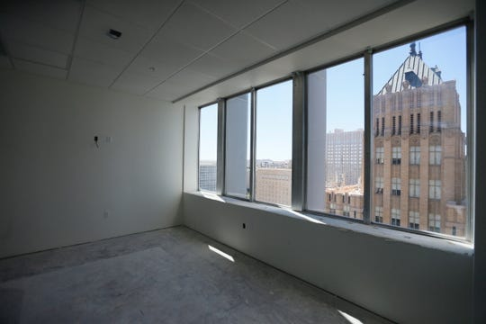 Tenants at the renovated Blue Flame Building will have good views. Construction of 120 low-income apartments in the 18-story Blue Flame Building in Downtown El Paso has been completed, and many residents already have moved into the former office tower, officials announced Thursday. The renovation also has created office and retail spaces. A room is shown Friday, May 22, 2020.
