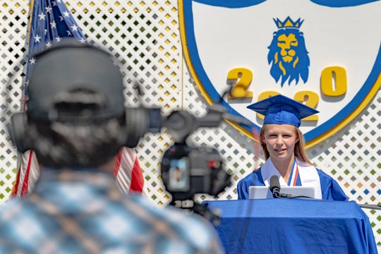 Associated Student Body President Mattie Fry, records her Exeter High School graduation speech Friday, May 22, 2020 in an empty stadium. A video of her and classmates will be available later.