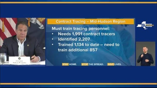 Gov. Andrew Cuomo on Saturday, May 23, 2020, showed a slide on how the Hudson Valley will need to add more contact tracers on Tuesday.